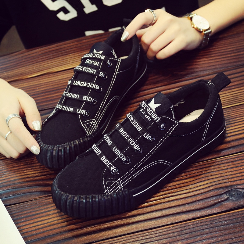 Spring Korean versatile canvas shoes female 2018 new students Harajuku cloth shoes casual black Hong Kong wind board shoes 23