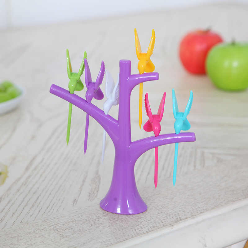 Conjuntos de talheres De Louça Criativo Árvore + Aves Projeto 1 base + 6 Garfos Garfos de Frutas de Plástico 2016 Venda Quente Vegetal garfo