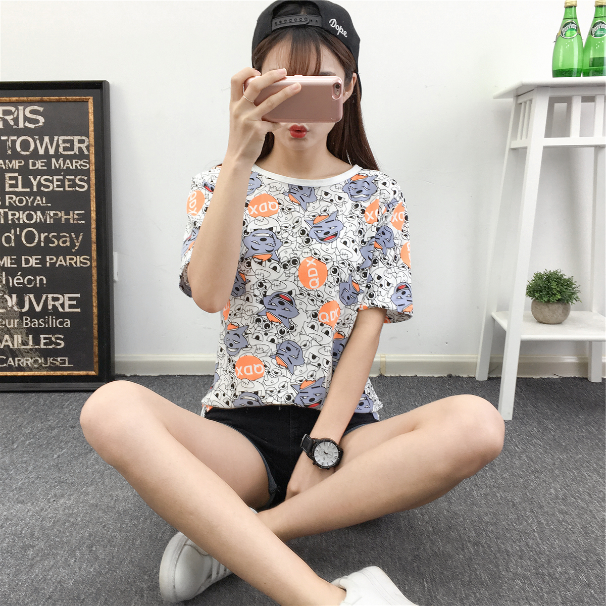 Flowers print 2018 new style fashion summer tshirt women gothic cropped feminino life is strange streetwear harajuku crop top