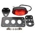 12V Black Side Mount License Plate Tail Light Red Lens Cat Eye Lamp With Bracket Fit for Harley