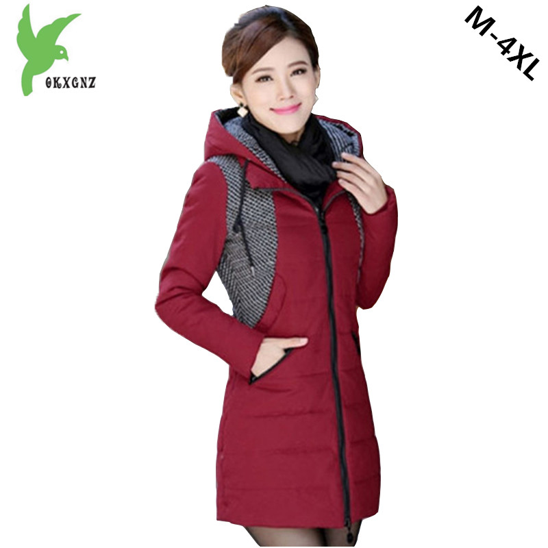 New Winter Women Cotton Jackets Hooded Keep Warm Casual Tops Coats Fashion Stitching Plus Size Slim Female Outerwear OKXGNZ A692  olgitum 2017 women vest jackets new fashion thickening solid casual cotton fashion hooded outerwear