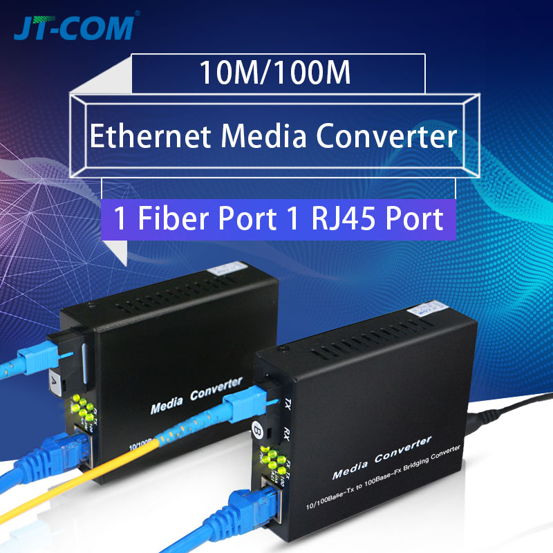 1Pair 10/100M Media Converter SC Fiber to Ethernet Single Mode Simplex rj45 Fibra Optica/Optical Transceiver GPON/OLT up to 25KM
