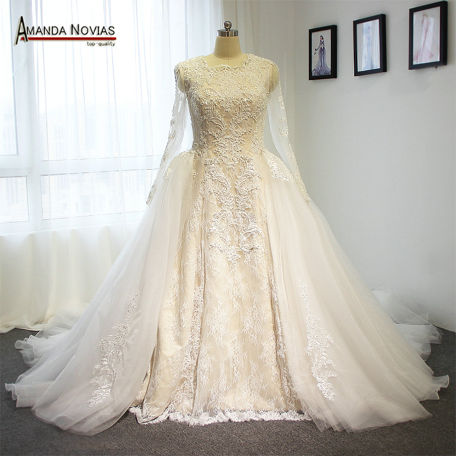 Ivory high-end wedding dress two in one wedding dress with long tulle sleeves