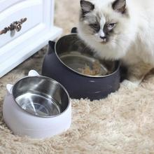 S/L Stainless Steel Cat Feeder Dog Feeding Bowl Double Protection Cervical Oblique Bowls Shape Cute Pet 20E