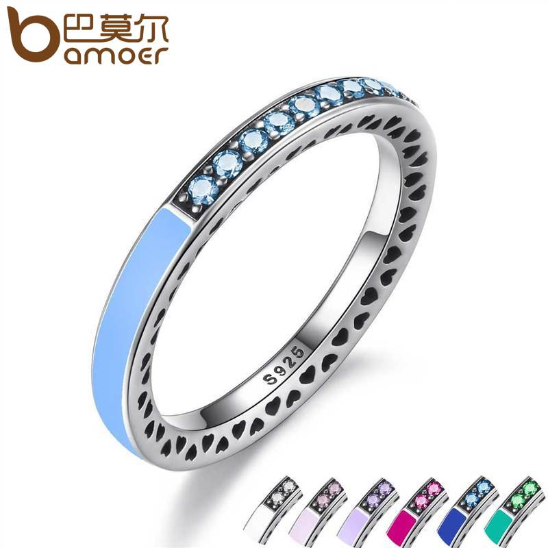 BAMOER 925 Sterling Silver Radiant Hearts Air Blue Enamel Sky Blue Synthetic Spinel Women Ring Silver