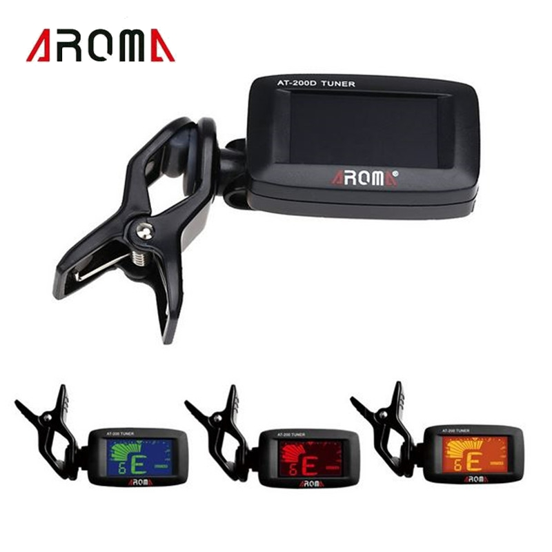 Aroma AT-200D Clip On Guitar Tuner Portable Digital Tuner Color Screen For Chromatic Guitar Bass Ukulele Violin Accessories  portable clip on guitar tuner capo 2 in 1 for guitar bass chromatic multifunction universal aroma ac 05