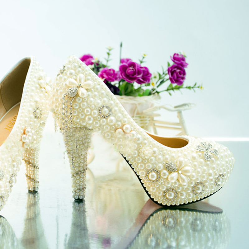 Artisanat ivoire haut talon plates-formes de fête de bal chaussures d'été strass chaussures de mariage mariée perle cristal robe chaussures - 4
