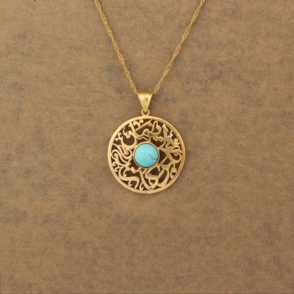 Turkey stone Stone Blue Pendant Necklace For Women Men Gold Color