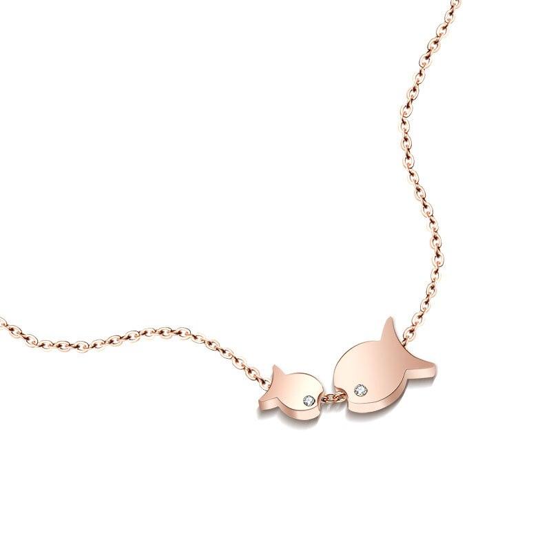 Hot Sale Kiss Fish Gold Color Rose Gold Color Titanium Steel Necklaces