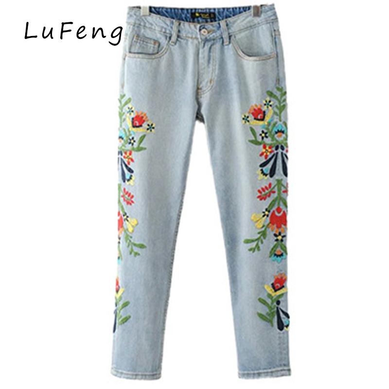 Embroidered jeans woman light blue pencil pants flower