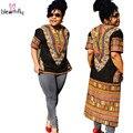 Африканские платья для женщин 2016 Повседневная Dashiki Платье Vestidos Отпечатано Черный Короткий Рукав Футболки Платье Африканской Печати одежда