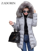 2016 New Winter Coat Women Fur Collar Hooded Slim Warm Cotton Down Jacket Parka Women Jackets