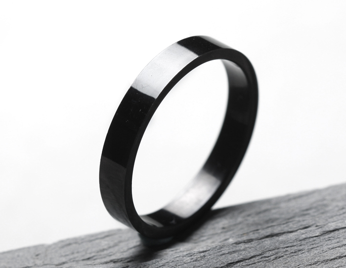 free shipping Wide Wholesale from yiwu 4mm Plan black rings 316L Stainless Steel finger ring for women jewelry wholesale
