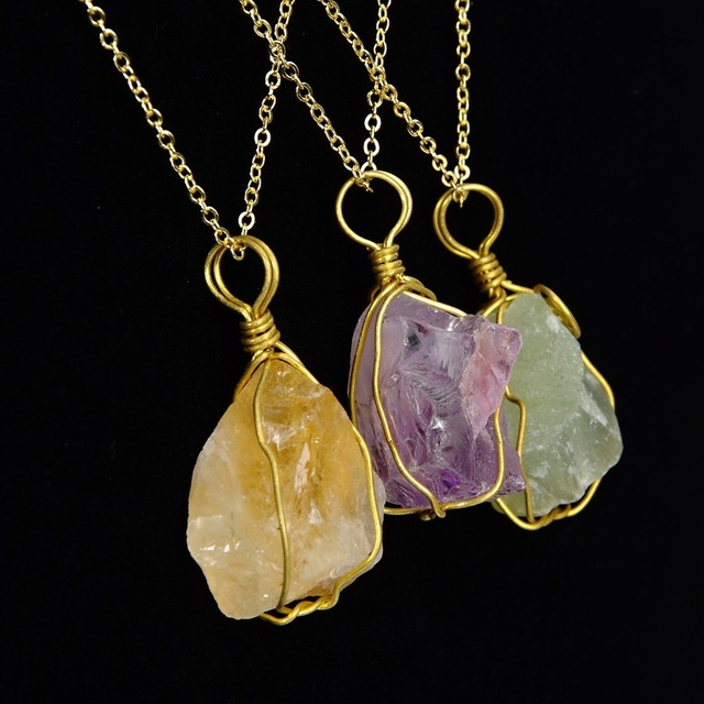 New handmade large rough rose clear quartz crystal pendant wire new handmade large rough rose clear quartz crystal pendant wire wrapped irregular natural minerals stone necklace aloadofball Images