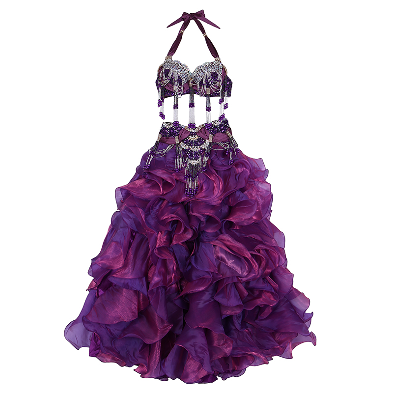 Plus Size Performance Belly Dancing Clothing Oriental Dance 3pcs Outfit Bra Belt Skirt Women Belly Dance Costume Set