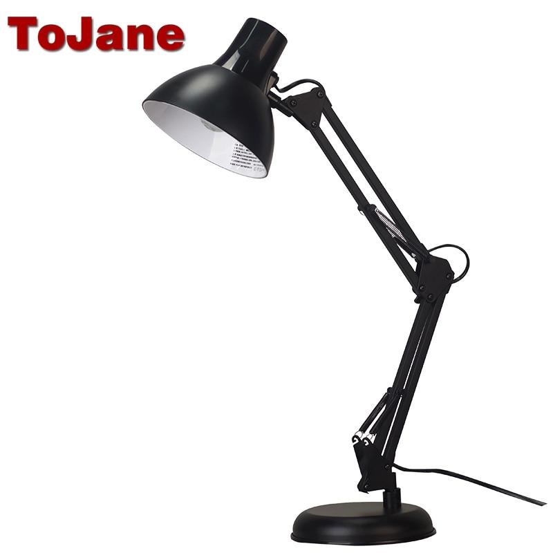 Tojane TG603 Flexible Desk Lamp Long Swing Arm Led Desk Lamp Metal Architect Adjustable Folding Twin Arm Led Table Lamp Reading