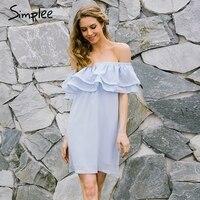 Simplee Chifon Ruffle Short Dress Women Off Shoulder Long Sleeve Beach Summer Dress Lining Elastic Band