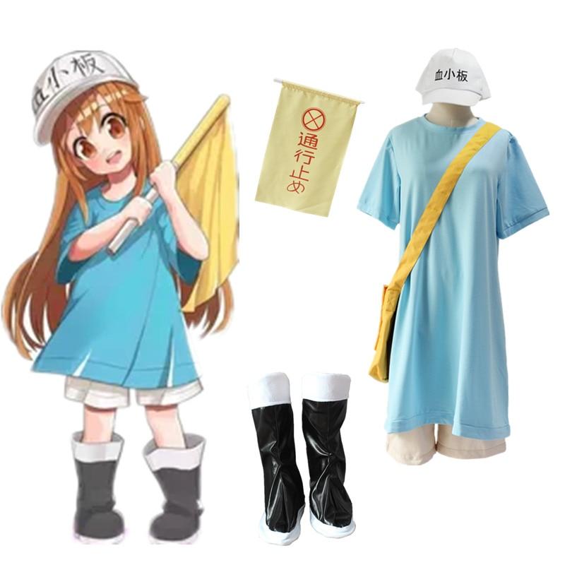 Anime Cells At Work Cosplay Costume Hataraku Saibou Platelet Kesshoban Uniform Full Set (Tops+Shorts+Bag+Hat+Flag)