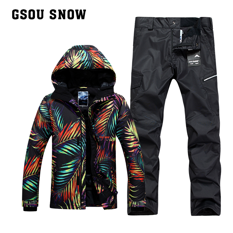 8b07ef8c1f480 Gsou SNOW camouflage pants snowboard jackets ski suit sets men ...