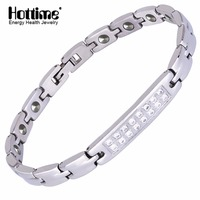 Hottime 316L Stainless Steel Lady Health Healing Magnetic 99 9999 Germanium Bracelet Bio Energy Bracelets Bangles