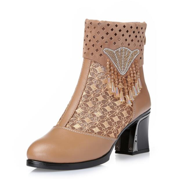 High Quality Women Leather Summer Boots Lace Summer Leather Boots Zapatos Femme Square High Heel Women