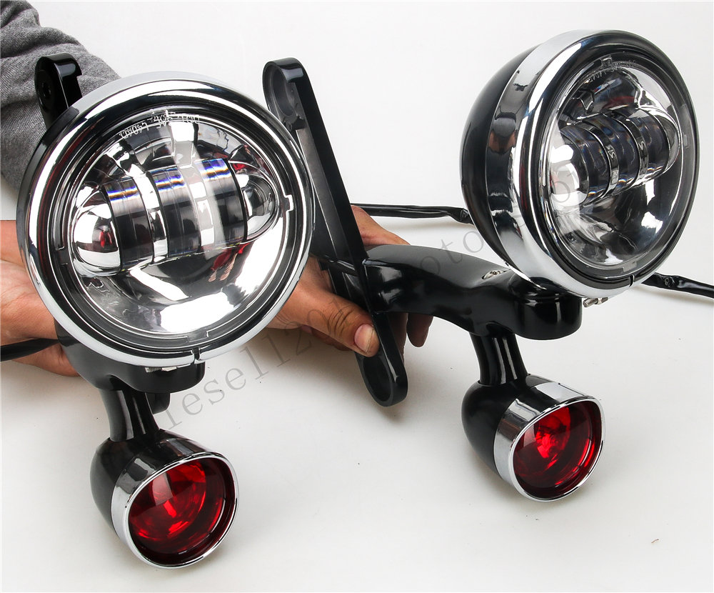 Gloss black Auxiliary lamps Fog Passing Lights Bracket turn signals For harley touring street Glide Roadking FLHX 06-13 paradigm cinema trio gloss black