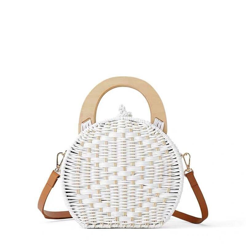 b4c0d6a52 Ronda de Bolsas de paja para las mujeres 2018 nuevo verano de ratán de  hombro bolsos círculo blanco hecho a mano tejido bolso de Playa Damas bolsos  de viaje