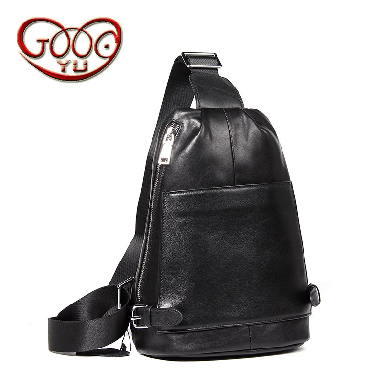 Men's leather oblique cross chest chest first layer of leather Europe and the United States style men shoulder bag leisure men b qiaobao 2018 new korean version of the first layer of women s leather packet messenger bag female shoulder diagonal cross bag