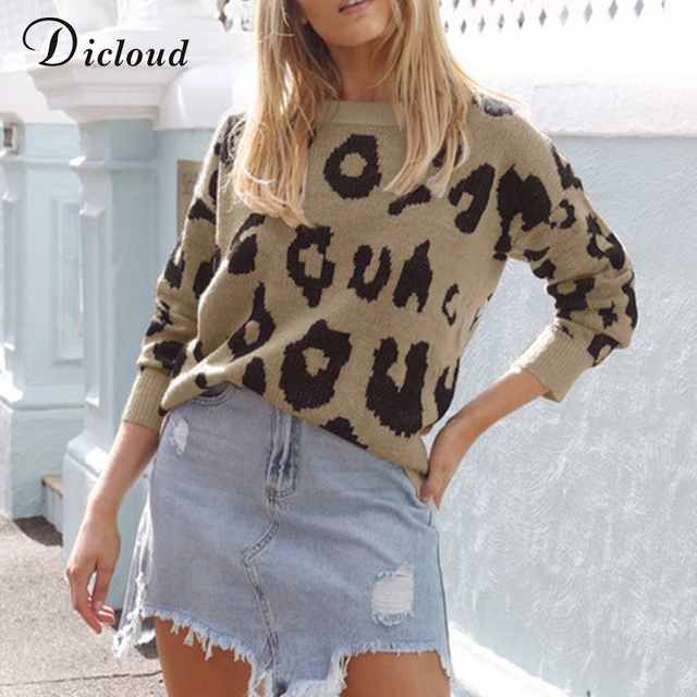 01d2a970895 Dicloud leopard knitted sweater jersey women autumn winter long sleeve oversized  pullover casual jumper unif sweater female