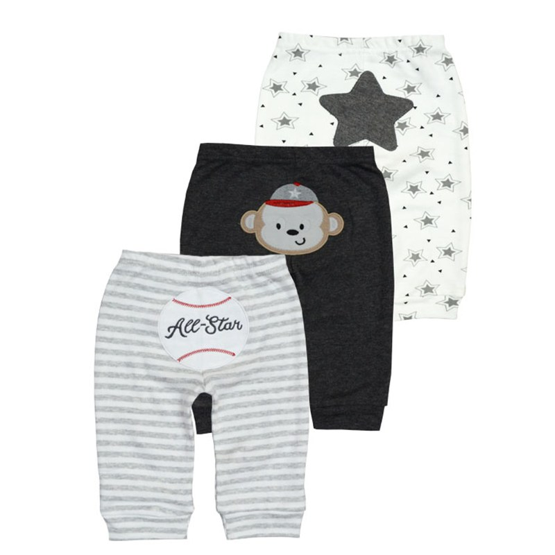 3pcs/lot 2017 casual Baby Pants Spring Autumn Cotton Baby Trousers Kid Wear Infant clothes Mid Waisted Pants For Girls Boys