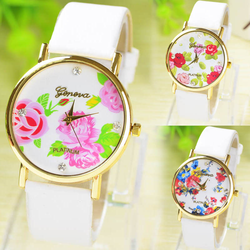 2015 New Fashion Rose Flower Watch GENEVA Vintage Women Quartz Dress Watches Casual Ladies Rhinestone Wristwatches - Emily'store store