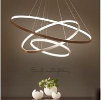 ZYY Modern Simple Aluminum Circular LED Ring Pendant Light Nordic Creative Circle Living Room Restaurant LED