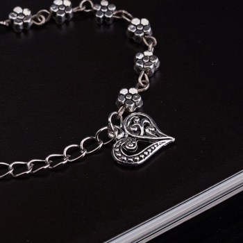 New Fashion Foot Chain Tibetan Silver Hollow Plum Daisy Flowers Heart-Shaped Anklet For Women 2