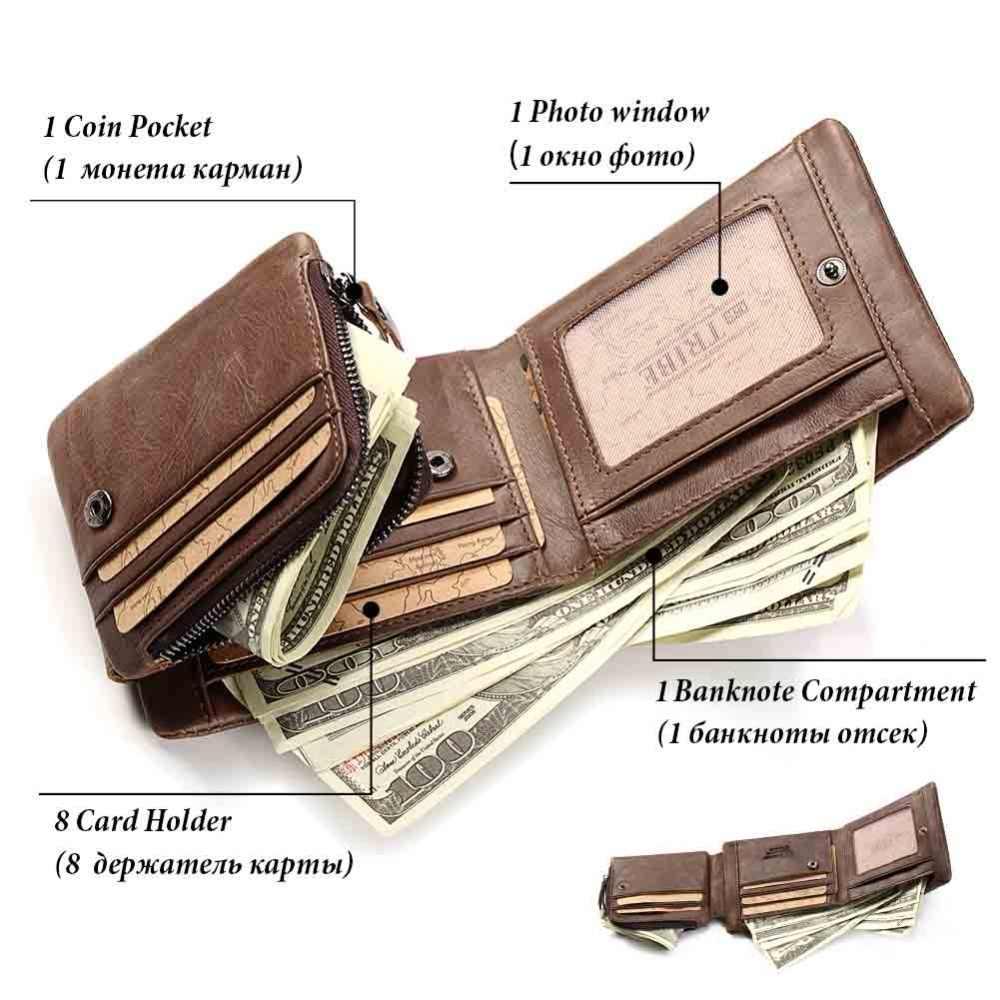 KAVIS Бесплатная гравировка Trifold из натуральной кожи мужской кошелек для монет мужской Cuzdan на молнии Walet Portomonee отделение для карт держатель для