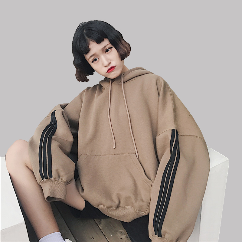 Frauen Hoodies Sweatshirts 2018 Winter Pullover Dicke Lose Frau Student Trainingsanzüge Harajuku Splice Retro BF Stil Hüfte Tops N