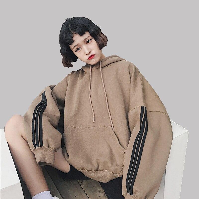 Sweat à capuche pour femme Sweatshirts 2018 hiver pull épais lâche femme étudiant survêtements Harajuku épissure rétro BF Style hanche hauts N