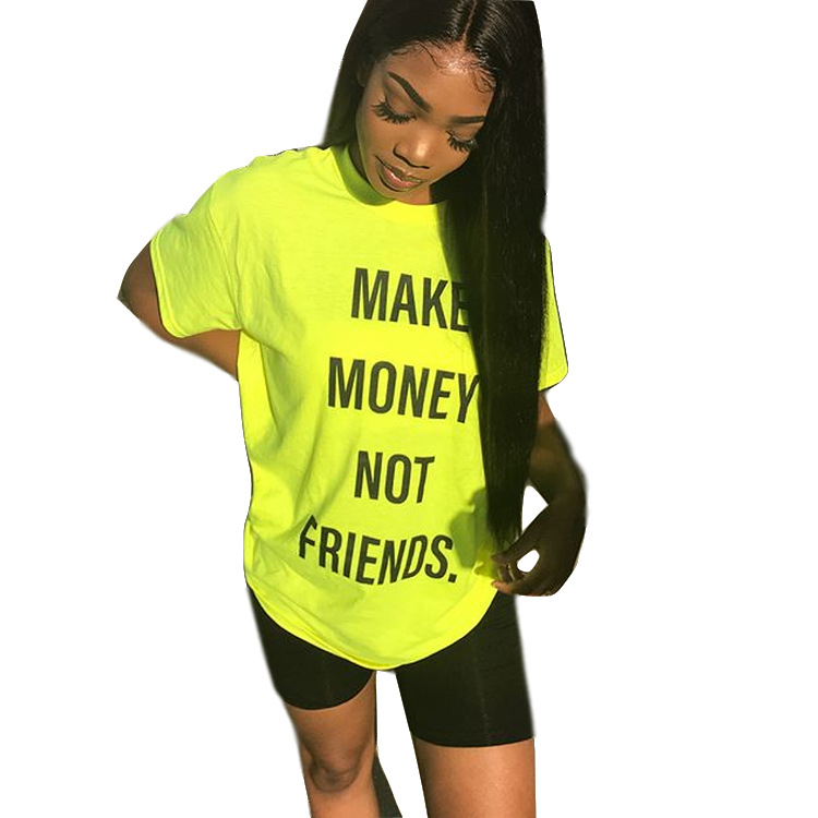 2020 New Women Summer T Shirts Make Money Not Friends Funny Letter O-neck Short Seeve T-shirt Fashion Tee Top Yellow image