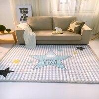 Прямоугольный серый в полоску с принтом со звездой детская игровой коврик мягкий полиэстер Ручная стирка ковер для пола/Прихожая/ гостиная