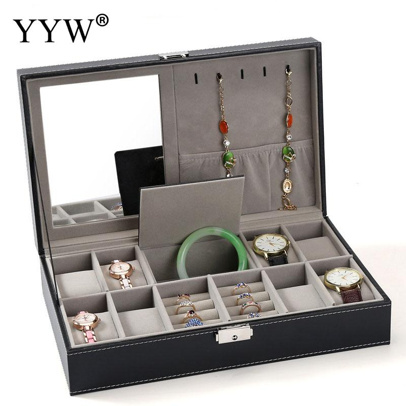 Boîte à bijoux De Stockage Organisateur Cas Avec Miroir À L'intérieur de Velours Boîte à Bijoux En Tissu Bracelet Bague Boucle D'oreille D'affichage Verrouillé Montre Boîtes