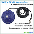 KINNUOTA BMW58 Color Blue MAGNETIC MOUNT SO239 with 5 Meter RG-58/U Coaxial Cable PL259
