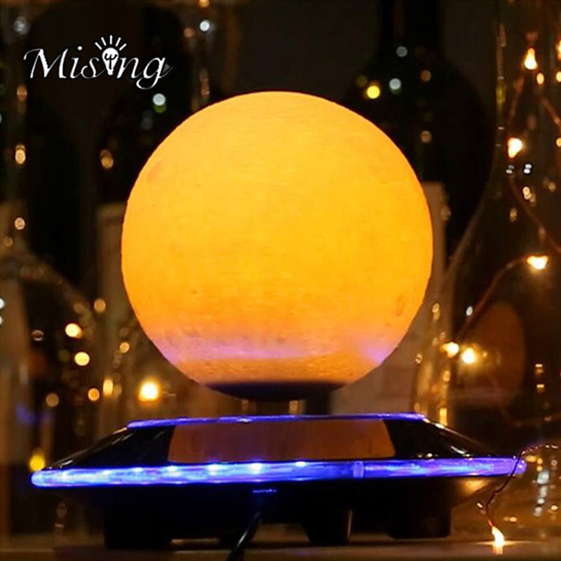 Mising 3D DIY Creative Magnetic Levitation Moon Night Lamp LED Table Lamp Light Moonlight Gift Holiday Decoration 3d print levitation moon lamp magnetic floating led night light levitating toy gift wireless power supply creative moon light