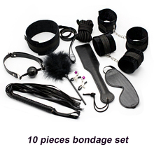 Erotic Toy 10pce/ Set sexy toys Adult Games sex Bondage Restraint,Handcuffs Nipple Clamp Whip Collar  sex toys for couples