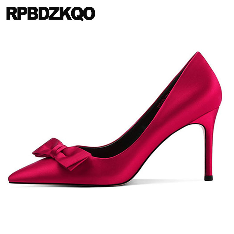 5cm Dames 4cm Grande 34 Pointu 1cm 33 Faible Cm Arc Scarpin Talons red Block Satin Chaton red Mariée Bout 8 Rouge 4 Hauts Luxe 9 Chaussures 5cm 8cm red Bloc Moyen Taille Pompes De red 6 5cm red Red ptqC77Exwz