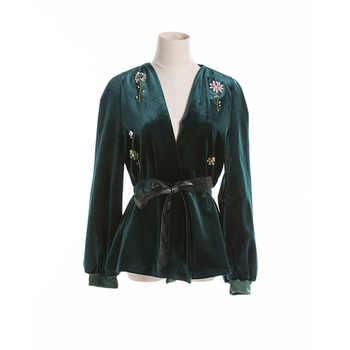 Velvet Jacket 2017 Autumn Fashion Sexy Belt Cultivate V-Neck Exquisite Beading Women New Black Green Brown Retro Jacket