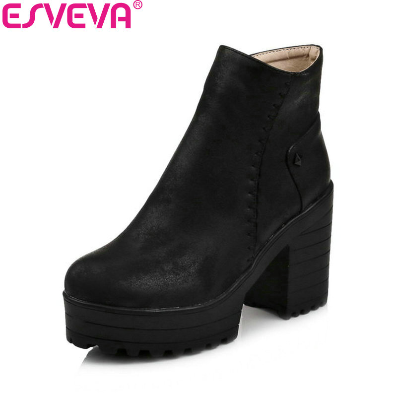 ESVEVA 2018 Western Style Women  Boots Square High Heel Ankle Boots Zippers PU Leather Casual Platform Ladies Shoes Size 34-43