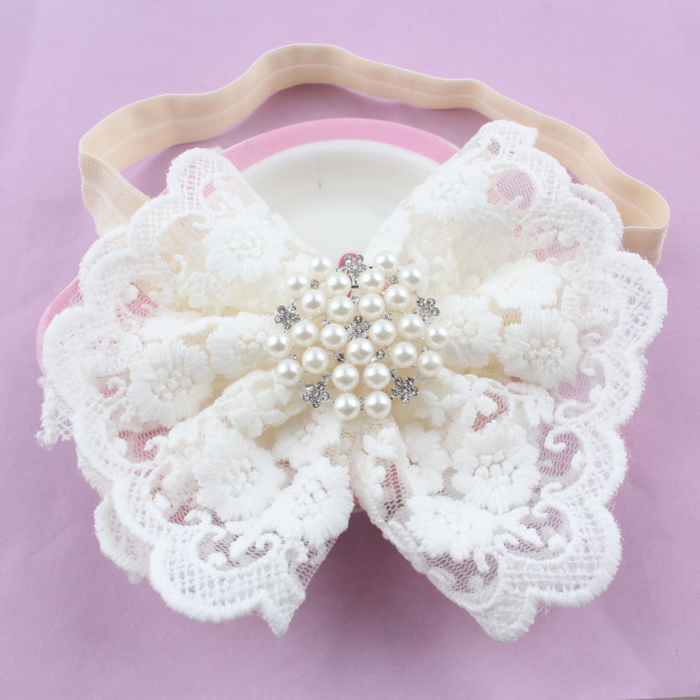 Cute Newborn Baby Girl Lace Big Flower Headband Accessories White Pearls Hair Band Hair Headwear Accessories awaytr korean hairband for women girls cute headband cat ears hair hoops with sequins hair accessories party birthday headwear