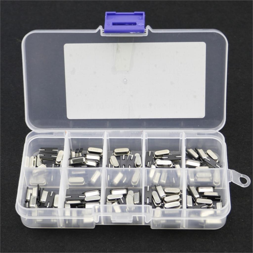 10Values HC-49S Quartz Resonator SMD Crystal Oscillator Kit 4MHz 6MHz 8MHz 12MHz 16MHz 24MHz 25MHz 48MHz 2Pin Diy Electronic Set