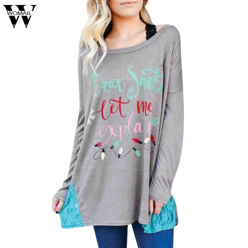 2017 Womens Ladies Xmas Christmas Prints Long Sleeve Shirt Pullover Tops womens T-shirt NOV6