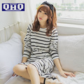 Autumn and winter long-sleeved striped cotton  girls sexy long section of cotton long-sleeved nightgown tracksuit