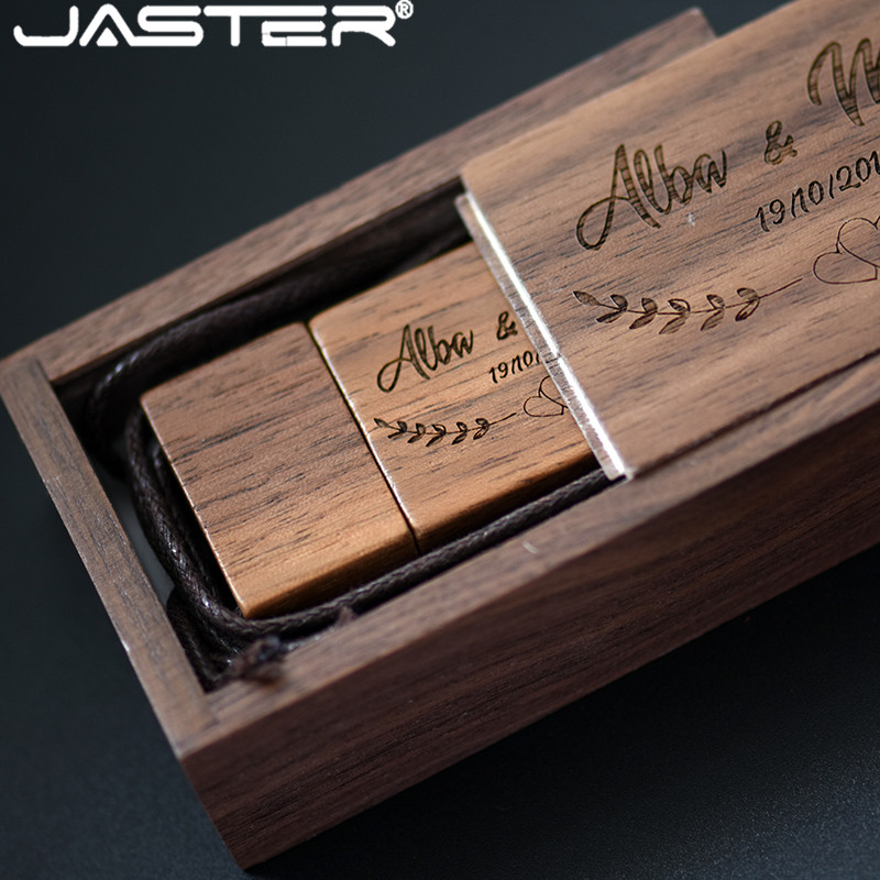 JASTER Natural Wood Walnut Usb+wedding Gift Box Usb Flash Drive Pendrive 4GB 8GB 16GB 32GB 64GB Usb Stick